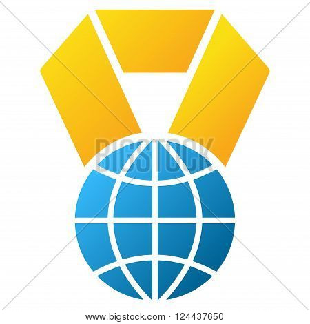 World Award vector toolbar icon for software design. Style is a gradient icon symbol on a white background.