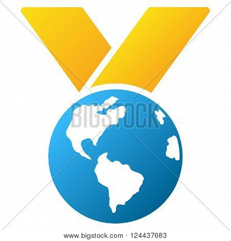 World Medal vector toolbar icon for software design. Style is a gradient icon symbol on a white background.
