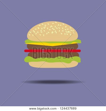 Hamburger Cheeseburger Food. Burger. Meat. Vegetable. Vector illustration