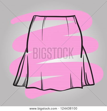 Stylish Skirt Model Hand Drawn Vector Illustration.