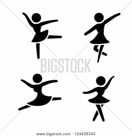 Set of ballet icons in silhouette stylevector