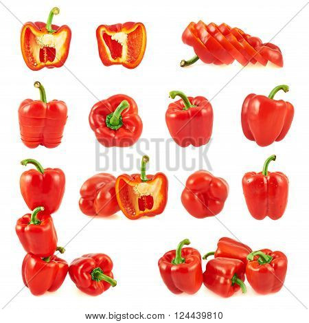 Set of multiple red sweet bell pepper compositions isolated over white background