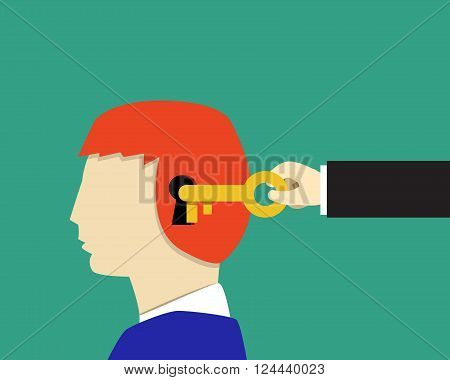 Boy and Children psychology Unlock and Read minds vector