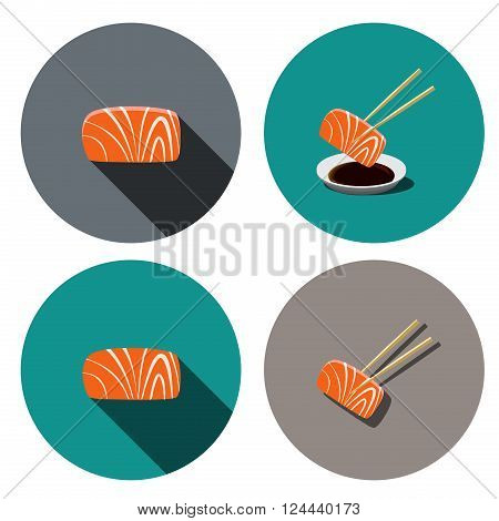 Set of sashimi salmon icon in flat style vector object