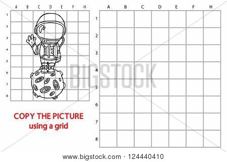 funny astronaut game. Vector illustration of grid copy puzzle with happy cartoon astronaut for children