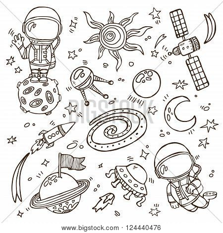 doodle space collection. Set of vector doodle hand drawn outlines astronauts, planets, stars, spaceships for wallpapers, scrapbooking, web page backgrounds, textile