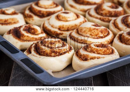 Raw cinnamon rolls. Preparation process - unbaked dough waiting before baking