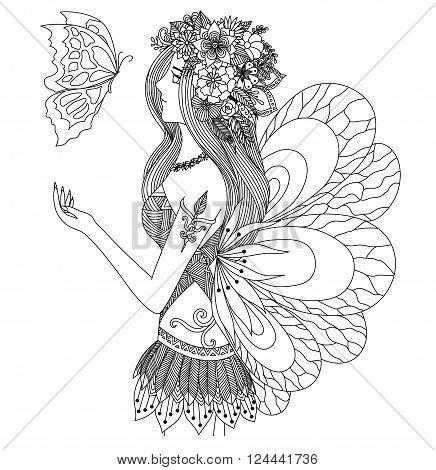 Pretty fairy girl looking at flying butterfly design for coloring book for adult