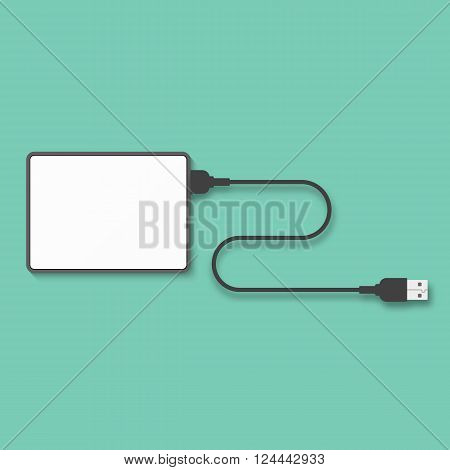 Portable hard disk isolated on a green background. Hard disk template for design. Hard disk vector.