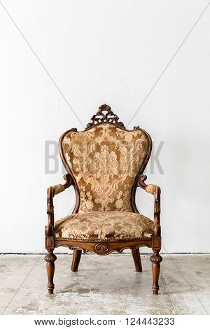 Brown Royal classical style Armchair sofa couch in vintage room