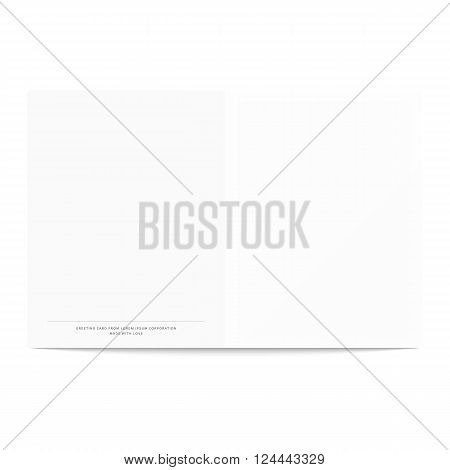 Postcard template isolated on a white background. Postcard template for design. Open vector. Complimentary booklet. NET design pattern for creating greeting cards.