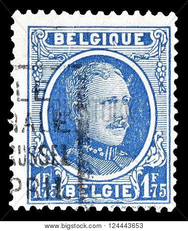 BELGIUM - CIRCA 1927: Cancelled postage stamp printed by Belgium, that shows king Albert.