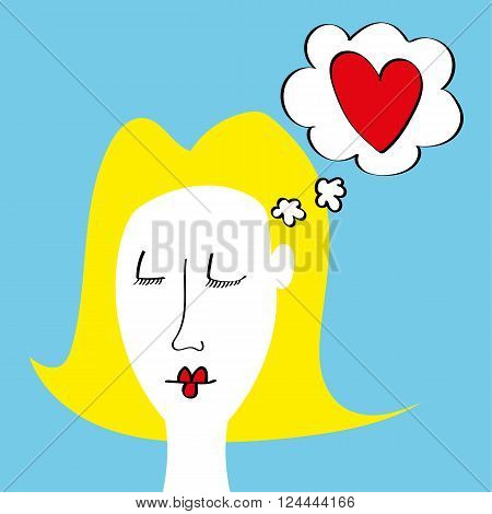 Drawing of a young girl or woman dreaming about love with a red heart in a thinking bubble above her head