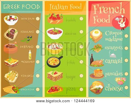 European Cuisine Menu Set. Greek Italian French Food. Menu Covers. Vector Illustration.