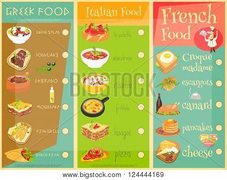 European Cuisine Menu Set. Greek Italian French Food. Menu Covers. Vector Illustration.