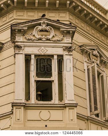 Facade of a wooden building in Buenos Aires
