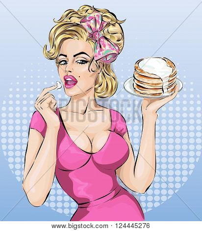 Sexy Pop Art Woman Portrait With Pancakes. Pin-up