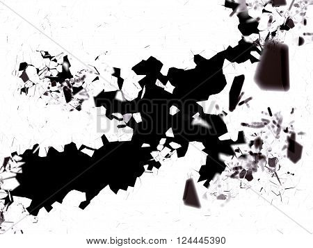 Shattered Pieces Of Glass Isolated On Black