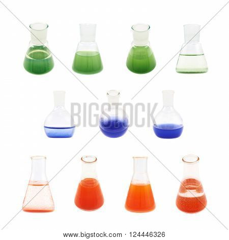 Flasks filled with the red, blue and green colored liquid isolated over the white background, set of multiple foreshortenings