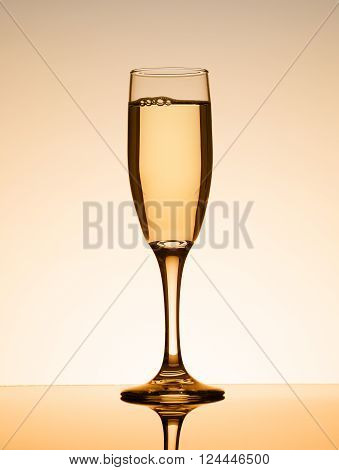 Champagne glass on reflective surface with copy space