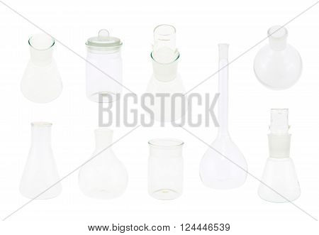 Set of multiple chemistry glassware isolated over the white background