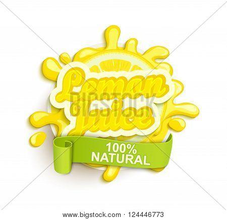 Lemon juece label splash. Blot and lettering with ribbon on white background. Splash and blot design, shape creative vector illustration.