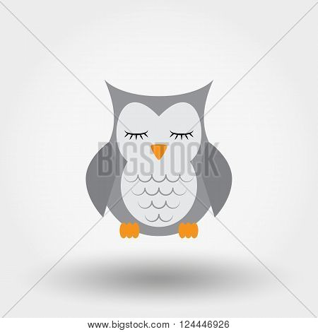 Sleeping owl. Stuffed toy. Icon for web and mobile application. Vector illustration on a white background. Flat design style.