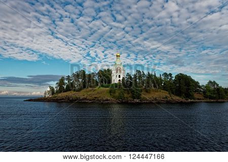 VALAAM ISLAND, RUSSIA - JULY 29, 2015: St. Nicholas skete of Valaam monastery. About 100,000 pilgrims arrive in the Valaam monastery annually, 90,000 of which are tourists