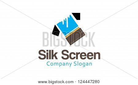 Silk Screen Creative And Symbolic Logo Design Illustration
