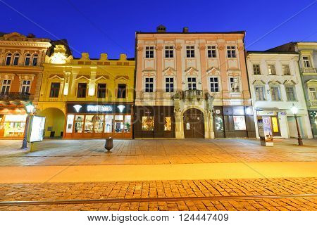 KOSICE, SLOVAKIA - MARCH 19, 2016: Historic architecture in the main square of Kosice city in eastern Slovakia on March 19, 2016.