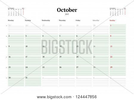 Calendar Template For 2017 Year. October. Business Planner 2017 Template. Stationery Design. Week St