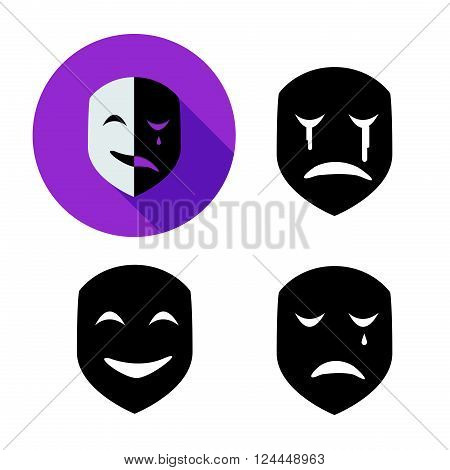 Set of emotion mask in silhouette style vector object