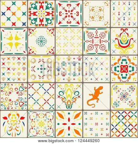 Gorgeous floral patchwork design. Moroccan or Mediterranean square tiles tribal ornaments. For print pattern fills web page background surface textures.