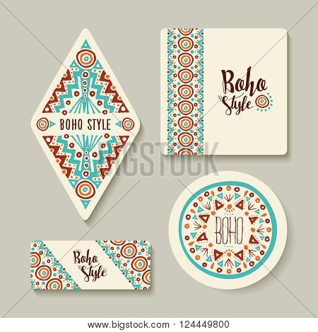 Boho Style Sticker Or Tags Set With Tribal Art