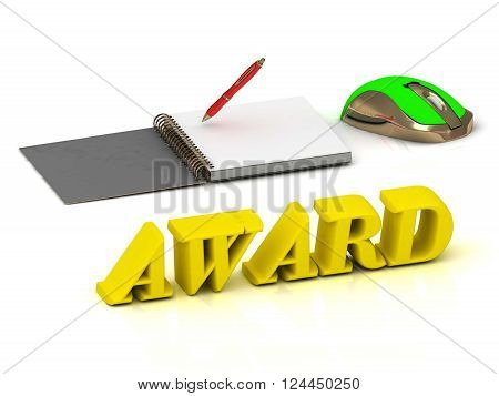 3D illustration AWARD inscription bright volume letter and textbooks and computer mouse on white background