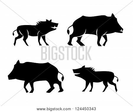 Boar icons and symbol in silhouette style vector