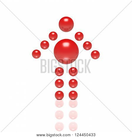 3D abstract Ballman arrowlike character on a grey background