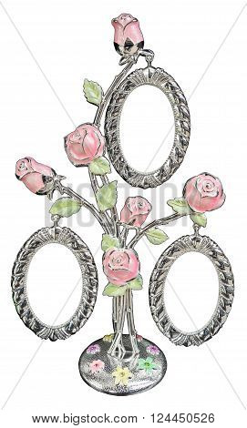 Silver photo frame as bouquet of rose on isolated background