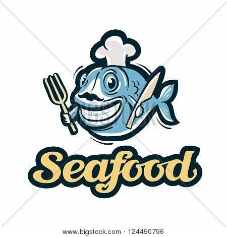 fun fish in chef hat isolated on a white background. vector illustration