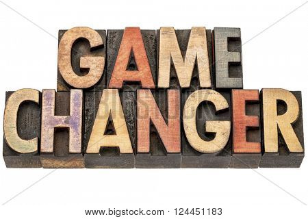 game changer  banner - isolated text in vintage letterpress wood type