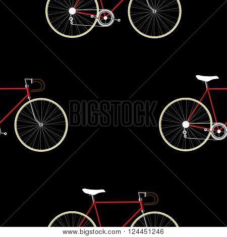 Vintage Bicycle color Seamless Pattern on black