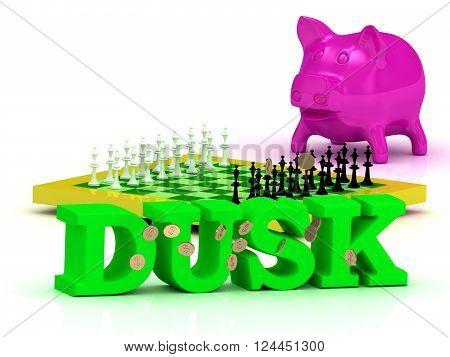 3D illustration DUSK bright word money pink piggy yellow chess on white background