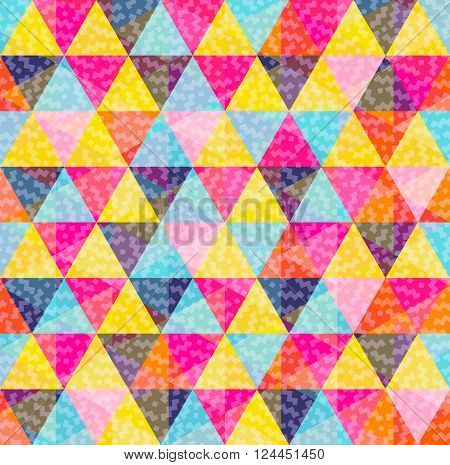 Geometry Pattern Of Colorful Triangle With Texture