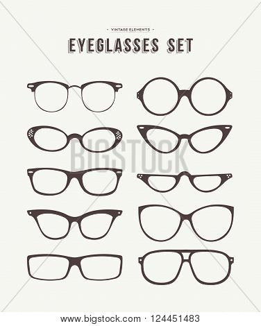 Set of retro eyeglass icons in fashionable hipster vintage style classic eye wear symbol collection. EPS10 vector.