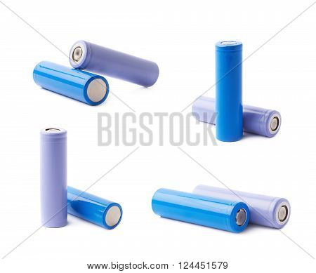 Two rechargeable 18650 batteries composition isolated over the white background, set of four different foreshortenings
