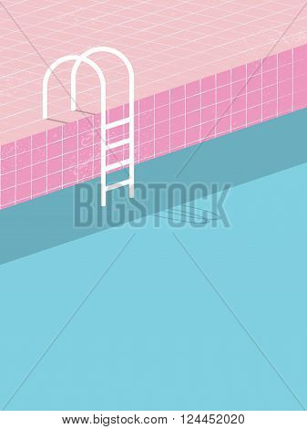 Swimming pool in vintage style. Old retro pink tiles and white ladder. Summer poster background template. Holiday resort eps10 vector illustration.