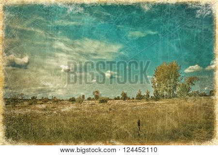 vintage landscape with summer meadow and cloudy sky