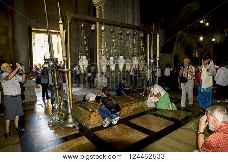 September 23 2012 .Jerusalem. The stone of anointing at the Church of the Holy sepulchre in Jerusalem Israel.
