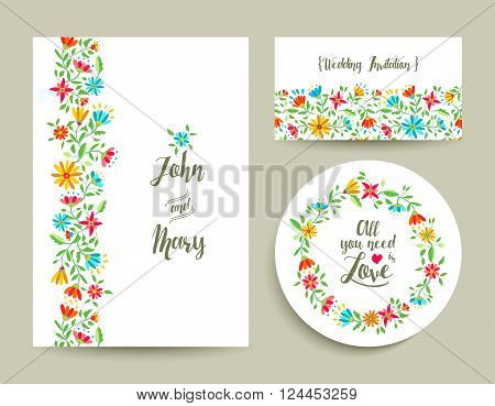 Beautiful floral wedding card invitation template with modern colorful flower designs ideal for spring celebration. EPS10 vector.