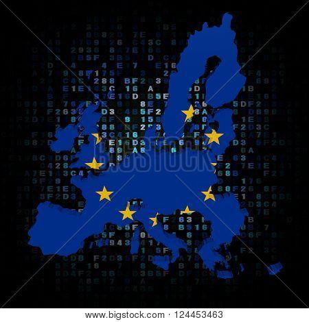 EU map flag on hex code 3D illustration